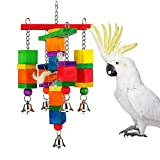 Wood Block Chew Toy with Bells for Bird Parrot Macaw African Greys Cockatoo Eclectus Amazon Parakeet Cockatiel Conure Budgie Finch Lovebirds Cage Swing