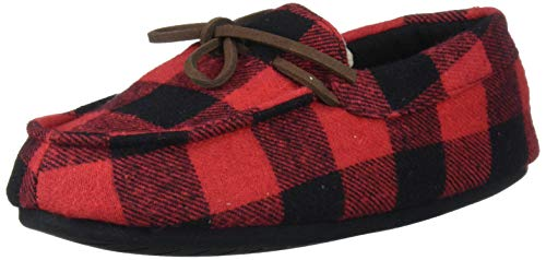 Dearfoams Baby DF Kids Toddlers Moccasin with Tie Slipper, Red Plaid, 9-10 Toddler Medium US Toddler