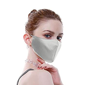 Mulberry Silk Resuable Sensitive Fashion Face Masks for Women Washable Luxury Face Scarf Adjustable Bandanas Unisex silver gray