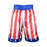 Kids Boxing Costume Rocky Balboa American Flag Shorts Italian Stallion Boys Wrestle Sports Trunks (Creed Shorts, L)