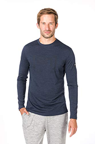 super.natural Essential I.d T-Shirt à Manches Longues pour Homme XL Navy Blazer Melange/Jet Black Logo