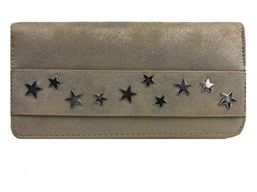 Treend24 Elegant dames portemonnee met 1 hoofdvak ritssluiting glitter portemonnee geld buidel metallic portemonnee brief tas (zilver)