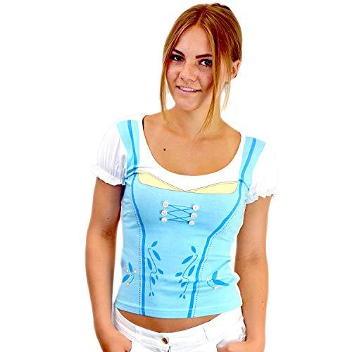 Bavariashop Dirndl Shirt, Sexy Damen Shirts mit Dirndloptik Größe XXL, Farbe blau