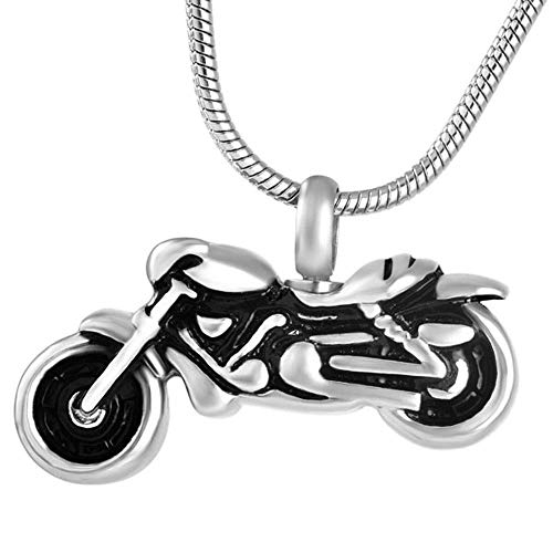 OPPJB Cremación Recuerdo Collar Rock Motocycle Memorial Cremación Cenizas Recuerdo Urna Colgante Collar Cenizas Urna-A