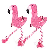 OMEM Lot de 2 Chien Jouet à mâcher Flamingo Corde Animal résistant Coton pour Animal Domestique Dents de Nettoyage pour Petit Chien Puppy Durable Jouet à Tirer