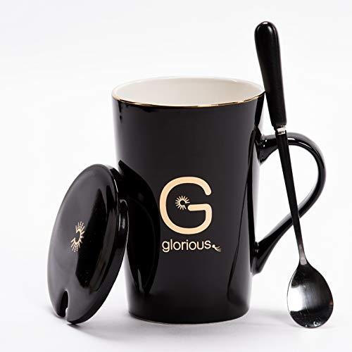 HRDZ Taza de cerámica Taza de Oficina Personalidad Masculina con Cuchara Taza con Tapa Cuchara Desayuno Taza de café