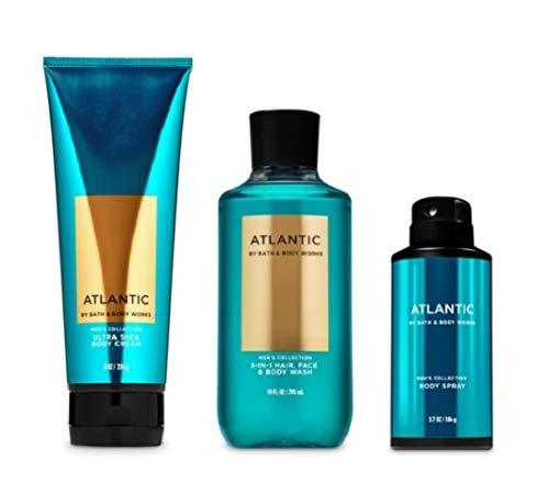 Bath and Body Works - Atlantic - Men's - 3 pc Bundle - Ultra Shea Body Cream, 2-in-1 Hair + Body Wash and Deodorizing Body Spray - (2020 Edition)