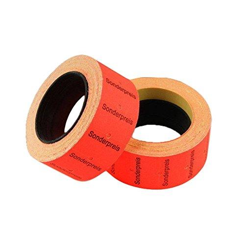 20 Rollen Preisetiketten Etiketten für z.B. MX-5500 Maße 12x21 mm Rot Sonderpreis-Aufschrift