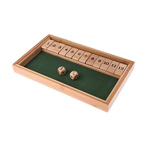 Amhuui Shut The Box Dice Spiel - Luxus 12 Zahlen Klappbrett Spiel, Würfel Spielbrett Bequemes Spaß Kinder Lernspielzeug ür Mind. 2 Spieler, klassisches Familienspiel, Holz, Natur/grün