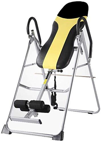 GJJSZ Tavolo di inversione Tavolo di inversione Pieghevole con Tubo di Sostegno alla Caviglia aggiornato Doppio Blocco per Terapia antidolorifica(Colore:Giallo Nero,Dimensioni:120 * 60 * 140 cm)