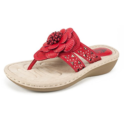 CLIFFS BY WHITE MOUNTAIN Shoes Cynthia Women's Sandal, Berry RED/Smooth, 8H M