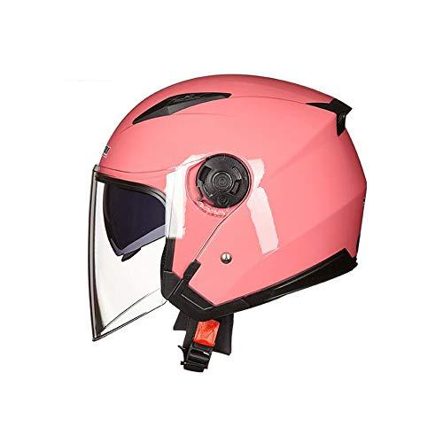 OTRG Motorradhelm Jethelme HD-Antibeschlagglas Abnehmbares Futter für Bike Moped Scooter ATV Damen und Herren,Rosa,S