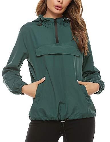 Aibrou Chubasquero Canguro para Mujer Chaqueta Cortavientos Abrigo Impermeable con Capucha Chuvasqueros de Lluvia Chaquetas Deporte Primavera,(Verde Oscuro,XXL)