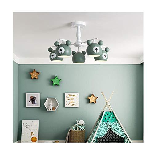 Shosel La luz LED de la Historieta del Oso 6 de la lámpara de Llama LEDDimmable niños y niñas Dormitorio iluminación de la lámpara Colgante Ligera 6 Luces,D