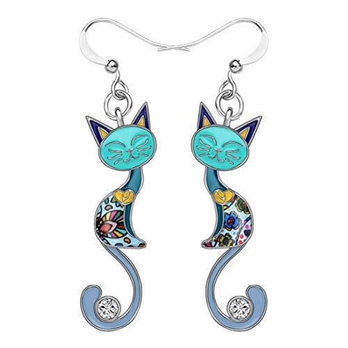 QIN Bonitos Pendientes Colgantes de Gato esmaltados para Mujer, joyería de Oreja, Pendientes Plateados para Boda, Pendientes de Mujer y niñas, Pendientes Coloridos para Mujer