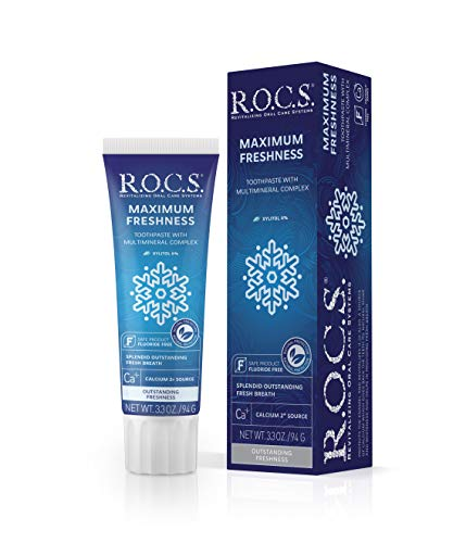 R.O.C.S. Maximum Freshness Toothpaste - Revitalizing Non-Fluoride Formula Enamel Strengthens - Natural Teeth Whitening, Polishing Gum Care and Protection - Mint Flavor for Fresh Breath