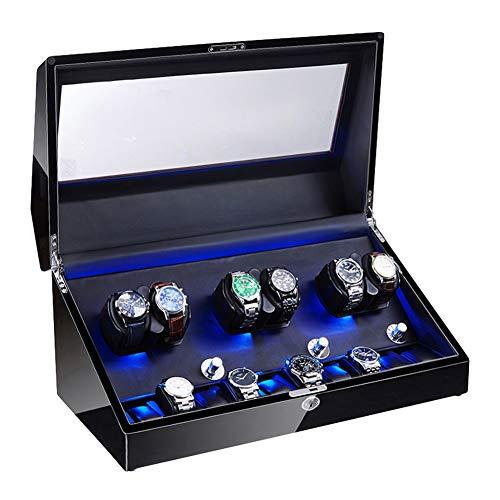 Jlxl 6 + 10 Watch Winder per Orologi Automatici Morbido Cuscino per Orologio Flessibile Illuminazione A LED Motore Silenzioso Esterno in Vernice per Pianoforte Accessori (Color : Black)