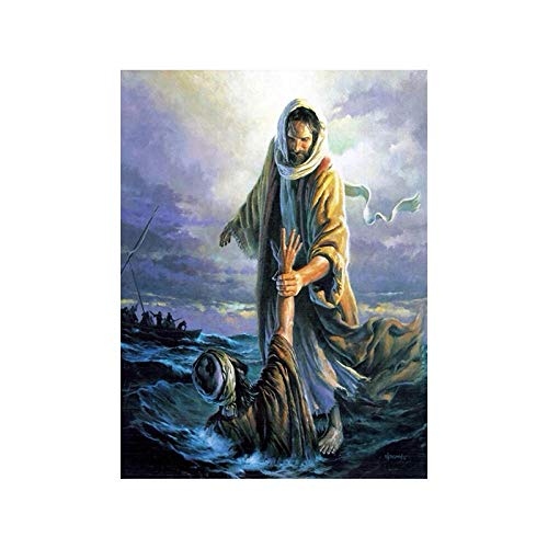 All Souls Day Jesus Peter Walking On Water Canvas Print Picture Christian Wall Art Paintings Living Room Poster and Prints Home Decor 40x60cm No Frame