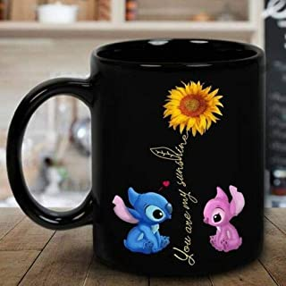 Stitch Sunflower You Are My Sunshine Mug Black Ceramic Coffee (15 Oz)