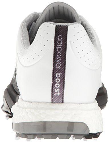 adidas Men's Adipower Boost 3 Golf Shoe, White/SilverMetallic/CoreBlack, 11 M US