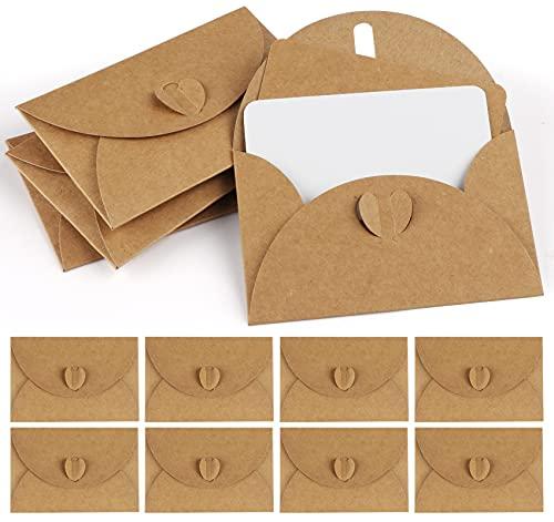 Mocraft 100 Kraftpapier Umschläge mit 100 Blanko Papier Karten, Mini Briefumschläge mit Herz Verschluss für Geschenkkarten DIY Graffiti