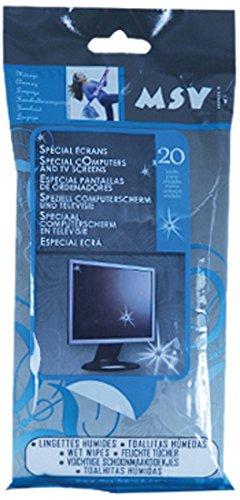 MSV 100382 Lingettes ecran Ordinateur par 20 Viscose/Polyester, Blanc, 2 cm