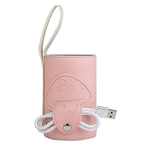 Sterilizzatore per biberon da viaggio, scaldabiberon per auto, controllo intelligente della temperatura per cartoni del latte(rosa)