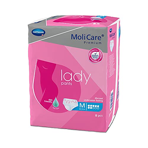 MoliCare Premium lady pants, Diskrete Anwendung bei Inkontinenz speziell für Frauen, Aloe Vera, 7 Tropfen, Gr. M, 1x8 Stück