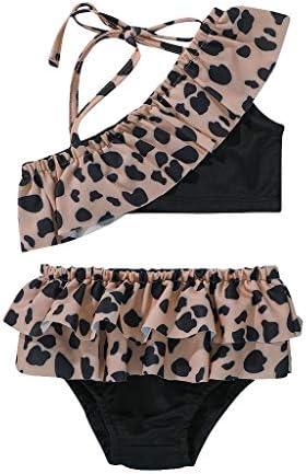 LEBOLONG Baby Girl Ruffle Bathing Suit Toddler Girls Two Piece Swimsuit Halter Top Bikini Bottoms product image