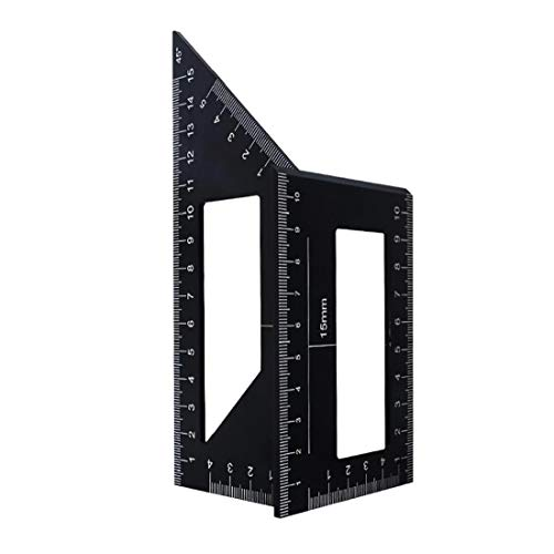 Newin Star Holzbearbeitungs Measure Ruler, Quadratisch Winkel Lineal-Werkzeug Carpenter Platz 45/90 ° Winkel Messen Werkzeug für Ingenieure Tischler