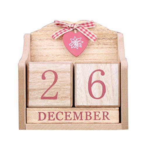VOSAREA - Calendario perpetuo de Mesa de cerámica con Cubos de Madera para decoración