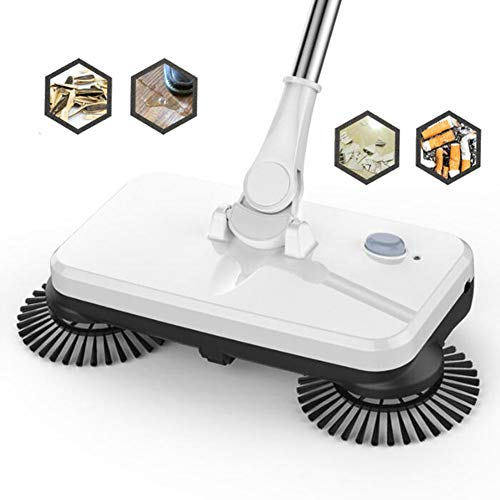L@CR Wiederaufladbare 2-in-1-Akku-Kehrmaschine und Mopp mit 3 rotierenden Bürstenmotoren Elektrobesen in Schleimgröße zum Reinigen und Wischen des Bodens