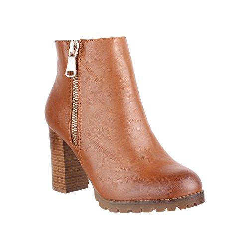 Elara Damen Stiefeletten Ankle Boots Chunkyrayan 2018 C223-Camel-36