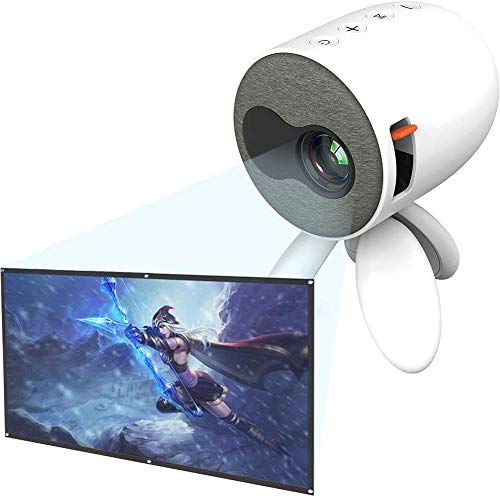 Mini Projector with Projector Screen, Support 1080p Hd Home Theater Video Cinema Led Portable Pocket Video Projectors Hdmi/USB/Sd/Av/Smart Phone Laptop Tablet Tv, White
