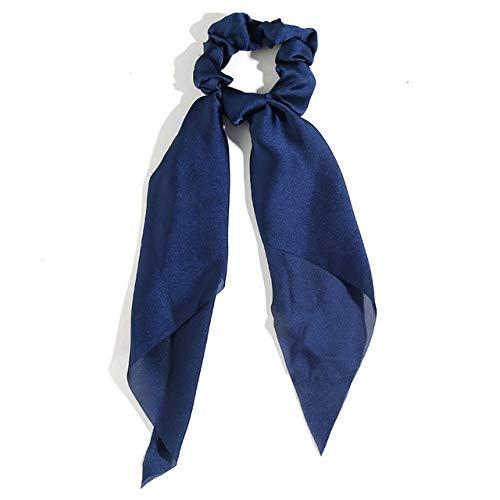 JSZWGC Mode Haarschmuck Langer Schal Bänder Scrunchie for Frauen Fliege elastischer Pferdeschwanz-Halter-Haar-Bänder (Color : 2 Blue)