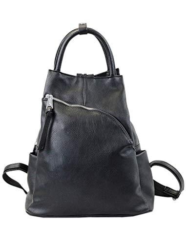 irisaa Damen Rucksack Daypack Tasche Umhänge Tasche Schulrucksack Schultertasche für Frauen und Mädchen, Damen Tasche:Schwarz