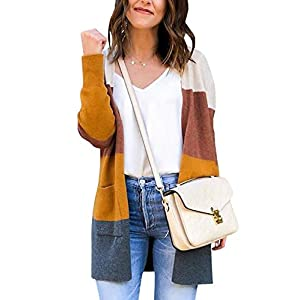ECOWISH Womens Cardigan Color Block Striped Draped Kimono Cardigans Long Sleeve Open Front Casual Knit Sweaters Coat Outwear