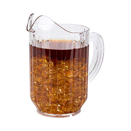 RW Base 32 Ounce Beer Pitcher, 1 Durable Restaurant Pitcher - Hard Plastic, Serve Soda, Lemonade, Juice, or Sangria, Clear Plastic Water Pitcher, For Bars, Parties, or Homes - Restaurantware