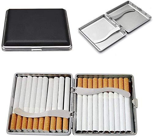 Pitilleras de Metal de Piel Negra con Goma elástica y Cierre a presión, Accesorio para Cigarrillos, Elegante Piel sintética para 20 Cigarrillos, para Hombre y Mujer