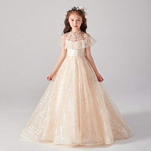Princess/baljurk Ronde Floor Lengte Tulle Junior bruidsmeisje jurk met frezen,Beige,160cm