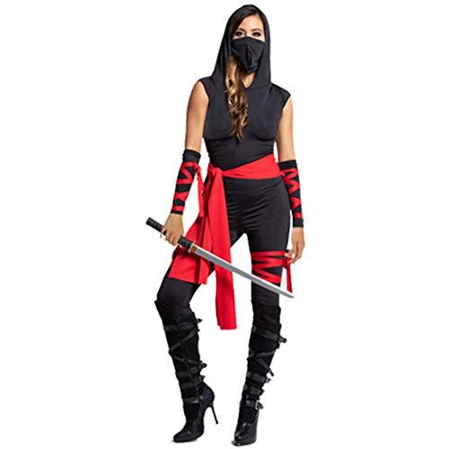 DISCOUNTL Halloween-Jumpsuit für Damen, ärmellos, mit Kapuze, Ninja, Cosplay Gr. S, Picture Color