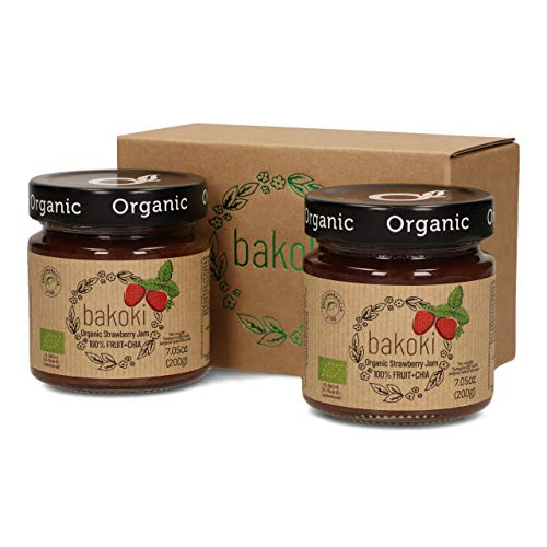 Bakoki Premium Fragola Biologico Confettura Marmellata + CHIA, 100% Frutta, Senza aggiunta di zucchero (2 x 200g)