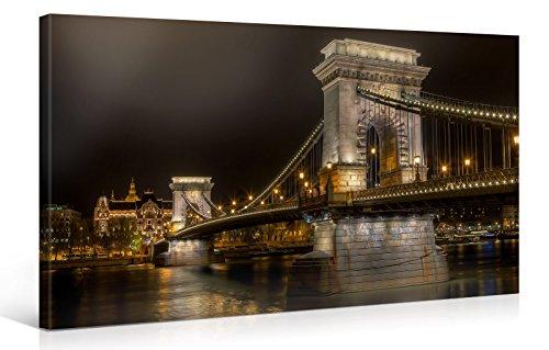 Picanova Budapest Bridge 100 x 50 cm – Stampa su tela di alta qualità – Stampa artistica su telaio in legno da 2 cm per camera da letto e soggiorno