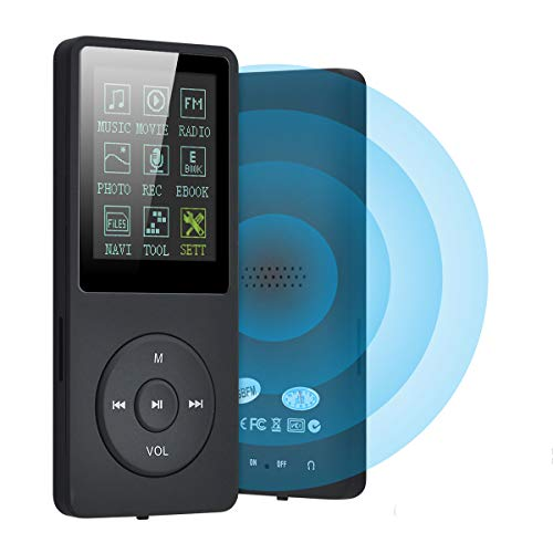 Lychee Lettore mp3 Portatile con Cuffie, 8GB Lettore Musicale MP3 MP4 70 Ore Riproduzione HiFi Lossless Sound, 1.8 Pollici con Radio FM, Registratore Vocale (Supporta Fino a 64 GB)