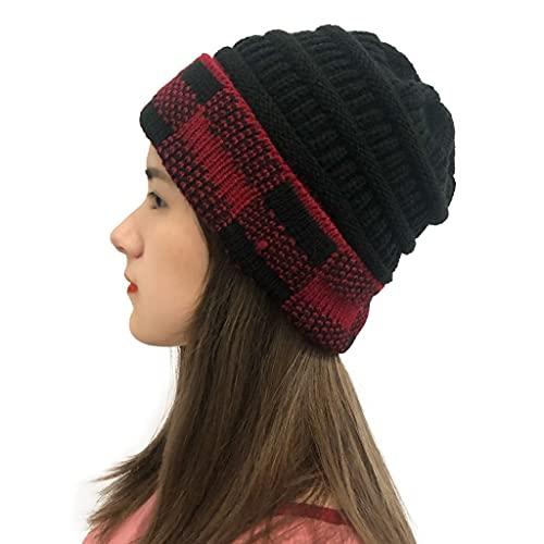 JSJJAUJ Sombreros de otoño e Invierno Mujeres Invierno Gorros cálidos Gorras de Tela Escocesa Costuras Costuras de Peluche al Aire Libre Sombreros de Crochet Tejido Invierno Gorro de Punto Gorros