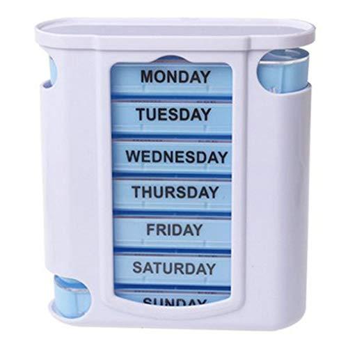 Coconut Píldora Siete días de la Caja plástica del cajón píldora Planificador Exterior apilable Compartimiento de Caja de la píldora semanal de la píldora del sostenedor del Organizador