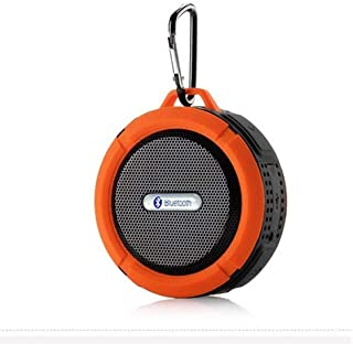 ZYZRYP Portable Waterproof Wireless Bluetooth Speaker Mini Round Portable Speaker Subwoofer Support TF Card with Hanging Hook Sucker (Color : Orange)