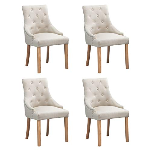 nozama Upholstered Dining Chairs Set of 4 Elegant Tufted Fabric Parsons Chair with Solid Wood Legs (Beige)