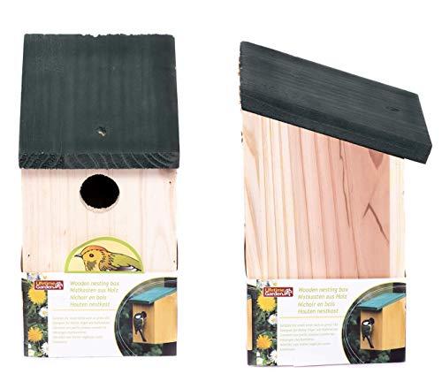 Liverta Vogelhaus Nistkasten aus Holz Vogelhäuschen für Kohlmaisen, Maisen, Kleiber, Spatz oder Haussperling langlebig robust 30mm Einflugloch Schutz kleine Vögel Artgerecht