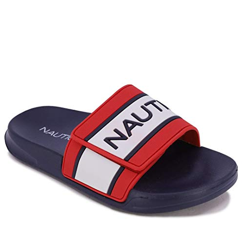 Nautica Kids Youth Slip-On Sandal Athletic Slide - Big Kid - Little Kid Boys - Girls-Anthory-Red Navy White-3